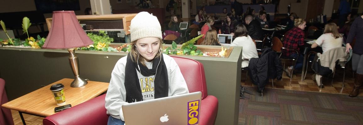 Appalachian State University Student at computer
