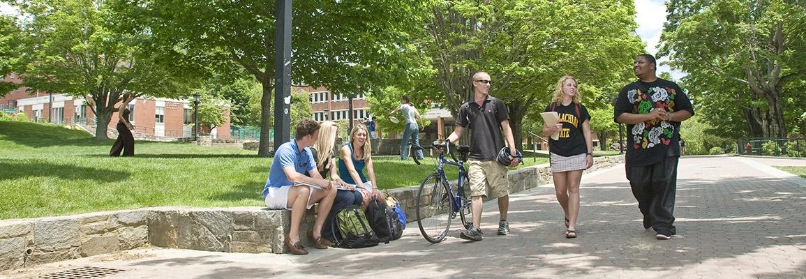Appalachian State University students walking on campus